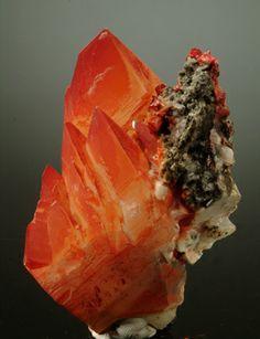 Calcite with Realgar inclusions  Shimen (Jiepiayu) Mine  Hunan, China