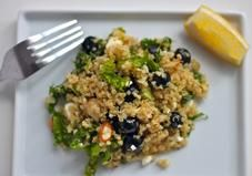 This cold quinoa salad explodes with flavor thanks to blueberries, feta, and crunchy almonds.