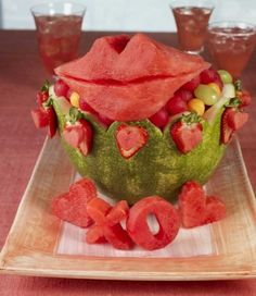 #Watermelon bowl/basket carving inspiration - Love. Lips. XOXO. Fruit salad. #Summer #recipe #treat