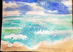 watercolor art, beach paintings, smart class, craft, art lessons, watercolor seascap, art projects, salt, kid