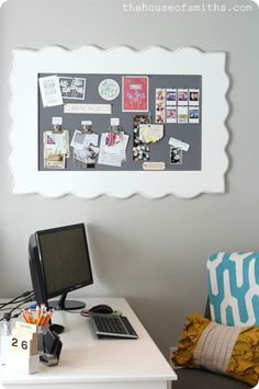 Create a custom pin board to house all of your creative ideas! http://blog.homes.com/2013/01/a-new-year-a-new-look-our-office-makeover-project/# #organization #homedecor