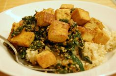 recipe: tofu with ginger and kale (quick and healthy weeknight dinner)