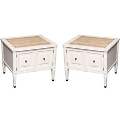 Chic Modern Neoclassical Nightstands with Travertine Tops