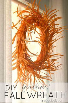 """Easy DIY """"feather"""" Fall Wreath"""