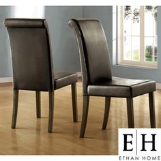 ETHAN HOME Dorian Parson Glossy Black Side Chairs (Set of 2)