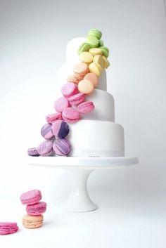 Cascading macaroons wedding cake