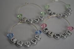 personalized wine charms with swarovski crystals