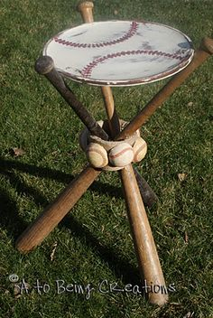 DIY Baseball Bat Night Stand ~ awesome!