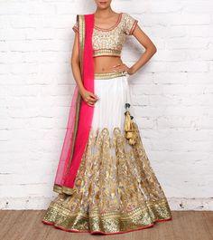 Off White and Magenta Net & Art Silk Lehenga Set | by Sanskriti. Indian wedding clothes lehenga set, indian weddings, silk lehenga, net art, art silk, wedding clothes, indian lehenga, magenta net