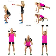 Crossfit Workout: AMRAP for 20 minutes: 15 kettlebell swings, 10 mountain climbers per leg, 5 thruster (Repeat as many times during the allotted 20 mins)