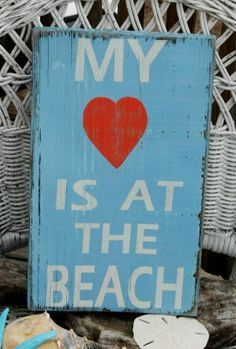 Beach Sign My Heart Is At The Beach Coral and Blue Colors Hand Painted Reclaimed Beach Wood Sign by CarovaBeachCrafts  FB - Carova Beach Crafts