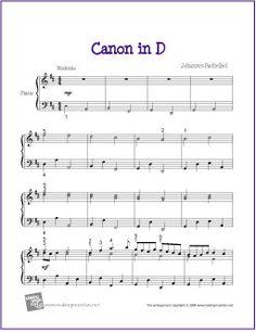 Canon in D (Pachelbel) | Free Sheet Music for Piano - http://makingmusicfun.net/htm/f_printit_free_printable_sheet_music/canon-in-d.htm