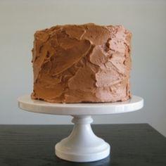 five-layer chocolate-vanilla cake with raspberry filling and chocolate mousse buttercream (aka tyler's groom's cake). it's gluten-free! gf recip, raspberri, chocolates, bake, layer cakes, gluten free, groom cake, chocolate cakes, dessert
