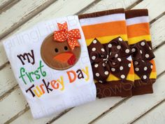 Baby Girl Thanksgiving Outfit My First by DarlingLittleBowShop