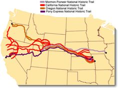 Image map of the Oregon, California, Mormon Pioneer, & Pony Express national historic trails across the United States. histor trail, map, trail west, oregon trail, california goldrush