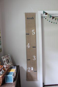 children's hanging growth chart -- burlap