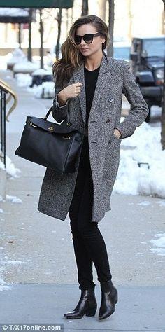 Miranda Kerr wearing Frame Denim Le Luxe Noir Stretch-Satin Twill Skinny Jeans SAINT LAURENT 40MM SL ROCK LOW BOOTS SAINT LAURENT double breasted coat Hermes Kelly Bag