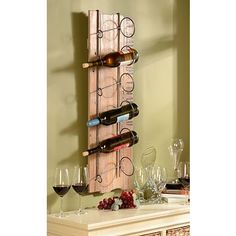 reclaimed wood wine rack with french writing. would be perfect with the table and french country theme.