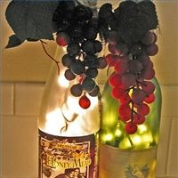 DIY wine bottle lights.