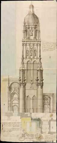 INTERPRETATIONS OF THE BAROQUE TRADITION   The Hispanic way  BANK, Pedro de (1681-1742)   project for strengthening the shaft of the tower of the Cathedral of Salamanca (1737)
