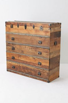 decor, travel chest, idea, trunk, dresser, anthropologie, furnitur, old pallets, chest of drawers