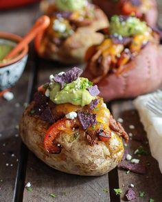 Steak Fajita Stuffed Baked Potatoes with Avocado Chipotle Crema - Half Baked Harvest