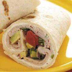 Avocado Smoked Turkey Wraps - use Joseph's lavash wraps instead of flour tortillas