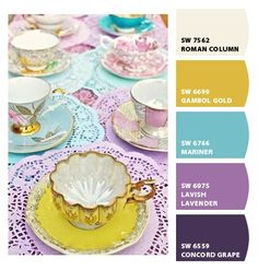 purples yellows blues fun palette wedding party scheme aqua gold demure tea cups dainty feminine doilies bright cheerful happy punchy dining room playroom kids room guest room study living room tea party mother-in-law suite #Paint colors from #ChipIt! by #SherwinWilliams color palett, color boardspalett, high tea, paint colors