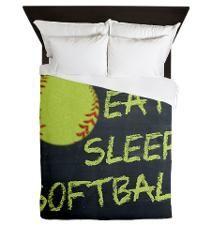 eat, sleep, softball Queen Duvet....pretty cool softball bedroom stuff on this website!