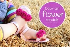 DIY Baby Girl Flower Sandals (made with re-purposed faux leather)