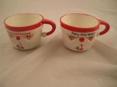 "Lot 2 Vintage Christmas ""Blinking Santa"" Mug Cup James R Summers Designs 8715 