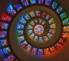 "The ""Glory Window"" of the Thanksgiving Square Chapel in downtown Dallas, Texas."