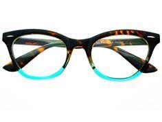 Womens Vintage Clear Lens Cat Eye Glasses Frames Tortoise Teal C591