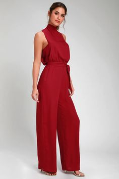 Chic Wine Red Jumpsuit - Backless Jumpsuit - Mock Neck Jumpsuit