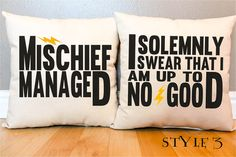 """3 Styles - Harry Potter """"I Solemnly Swear/Mischief Managed"""" Marauder's Map Pillow Set - 2 Pillows on Etsy, $45.00"""