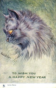 """Happy New Year postcard, """"Love Sick"""" cat by Louis Wain"""