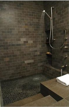 shower designs, river rocks, floor, tile, tub, master baths, roman, bathroom showers, modern bathrooms