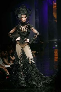 Insane! Avant Garde meets lingerie Gothic. ~ Haute couture by Tex Saverio.  Id like to see this in detail. Wow. Looks like ribbon embroidery.