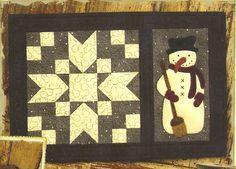 Primitive Folk Art Wool Applique Pattern: FROSTY FRIENDS