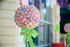 dumdum, birthday, candy trees, ball, candi tree, candyland sweet sixteen, dum topiari, lollipop tree, parti idea