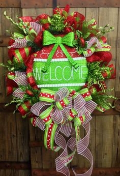 Welcome Christmas Mesh Wreath by WilliamsFloral on Etsy, $109.00 christma mesh, christmas wreaths, christma wreath, wreath christmas, christma decor, mesh wreaths