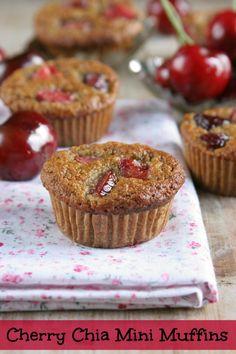 Cherry Chia Mini Muffins from www.DailyBitesBlog.com
