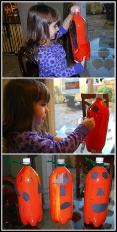 Halloween Crafts - Soda Bottle Pumpkins. Your kids will love these east DIY Halloween decorations! #HalloweenCrafts