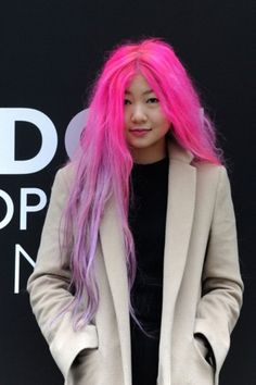 neon pink lilac hair