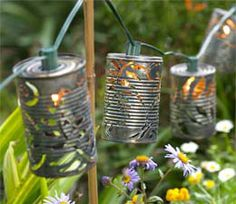 Recycled soup cans garden lighting