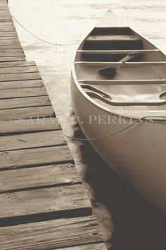 Canoe Oar & Boat Dock Lake Photography Sepia Fine Art Wall print 16x20 Vintage Aged Weathered Boat with Paddle Retro Summer on the Water