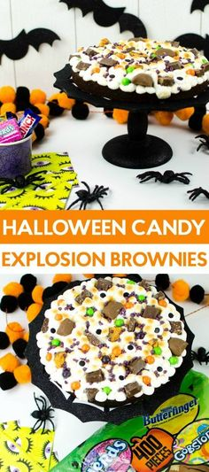 You're going to love these Halloween Candy  Explosion Brownies! Simple to make and oh so yummy! #halloween #happyhalloween #trickortreat #halloweenparty  #halloweenfun #crafts #craftideas #DIY #halloweenDIY #halloweencraft #candy  #brownies #baking #recipe #halloweentreats #halloweenrecipe