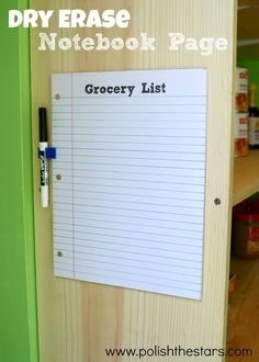 Dry Erase Notebook Page...cool!