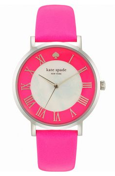 Pretty, pink Kate Spade watch. Must have this!