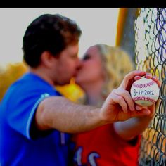 baseball save the date. Love the bright colors & fence